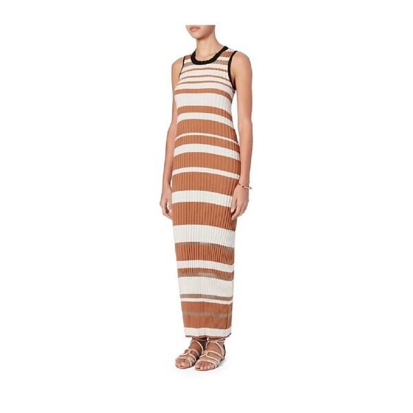 Sonia Rykiel Beige Striped Knit Dress 26130856