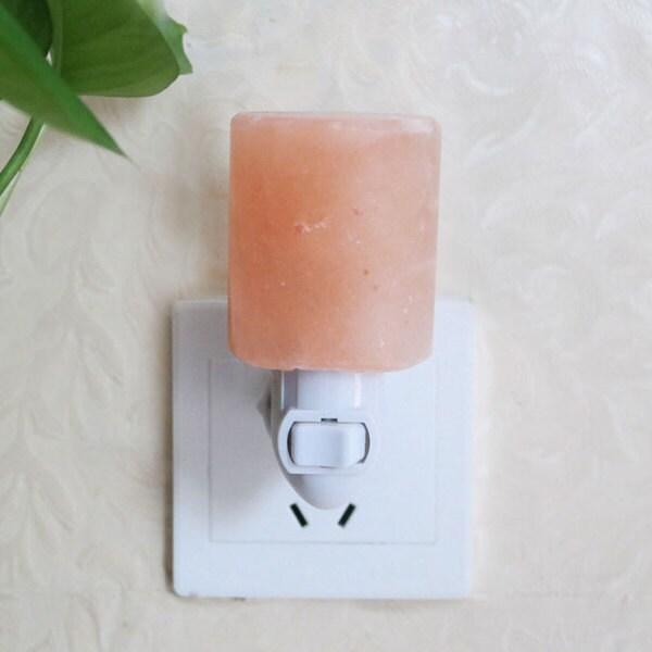 Exquisite Cylinder Natural Rock Salt Himalaya Salt Lamp Air Purifier with Wood Base Amber 26130885