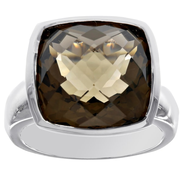 H Star Sterling Silver 14x14 Cushion-cut Smoky Topaz Ring 26140288