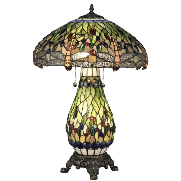 Tiffany-style Yellow Dragonfly Lighted-base Table Lamp