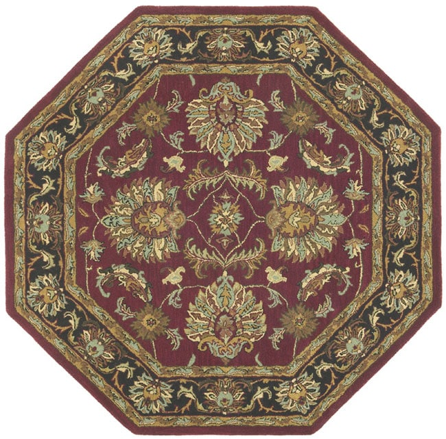 Hand Tufted Agra Red Gold Wool Rug 8 Round: Hand-tufted Agra Wool Rug (6' Octagon)