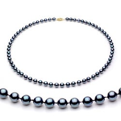 DaVonna 14k Gold Black Akoya Pearl High Luster 18-inch Necklace (6.5-7 mm)