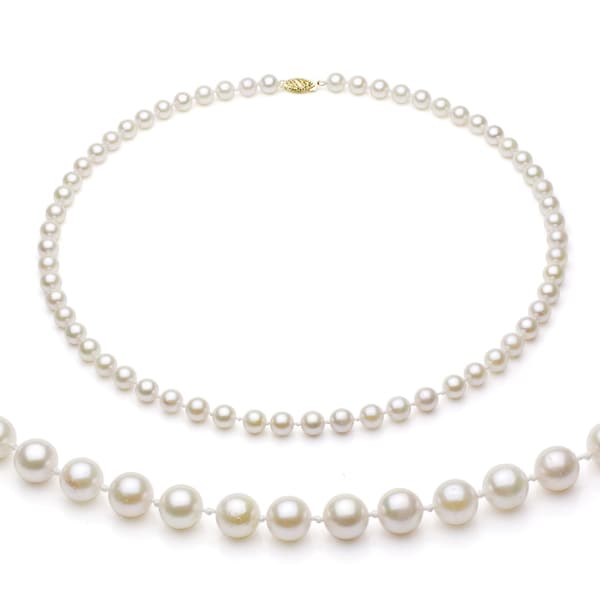 DaVonna 14k Gold White Akoya Pearl High Luster 24-inch Necklace (7.5-8 mm)