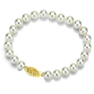 DaVonna 14k Gold White 7-7.5mm Akoya Pearl Bracelet (7 in) with Gift Box
