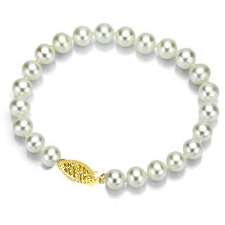 DaVonna 14k Gold White 7-7.5mm Akoya Pearl Bracelet (7 in) with Gift Box