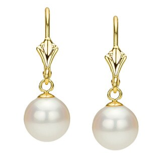 DaVonna 14k Yellow Gold White Cultured Pearl Leverback Earring (6-11 mm)