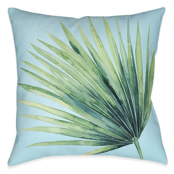 Laural Home Green Palm Leaves II Indoor- Outdoor Decorative Pillow 26195382