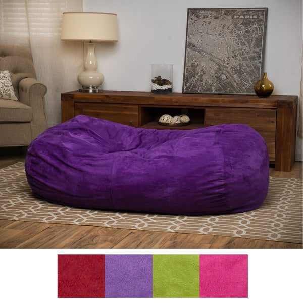 Delilah Fabric 4-foot Lounge Beanbag Chair by Christopher Knight Home in Kiwi Green(As Is Item) 26197428