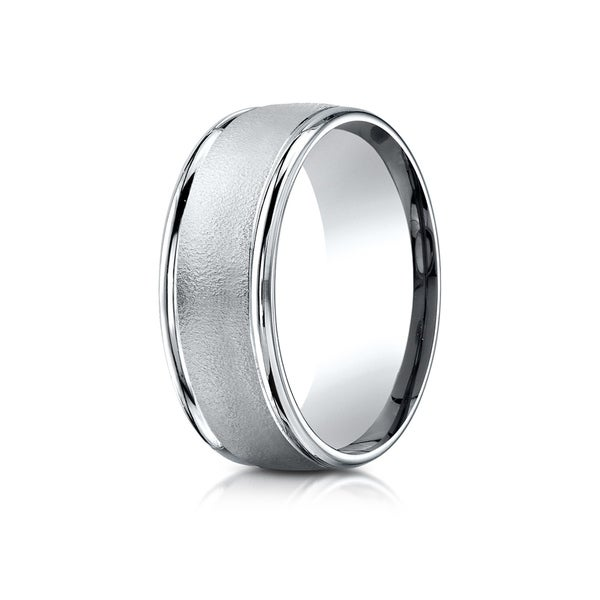 Estie G. 18k White Gold 8mm Comfort-fit Wire Brush Finish High-polished Round Edge Carved Design Band 26223475
