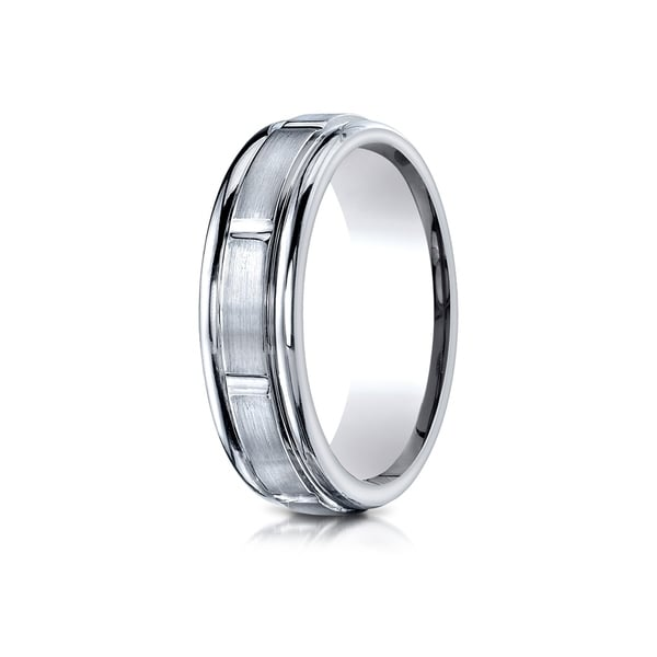 18k White Gold 6-millimeter Comfort-fit Satin Finish 8 High-polish Center Cuts Round Edge Carved Band 26224670