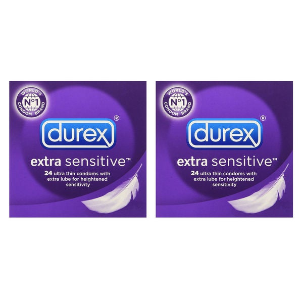 Durex Extra Sensitive Ultra Thin 24-Count Lubricated Condoms (Pack of 2) 26250343