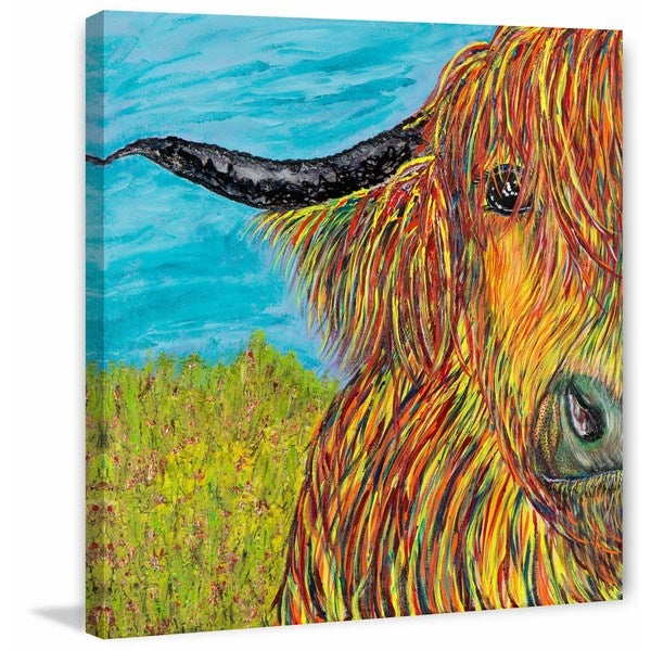 'Jo Beef' Painting Print on Wrapped Canvas - Yellow 26250686