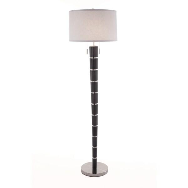 Nova Lighting Konico Charcoal Grey Wood Steel Floor Lamp 26274290
