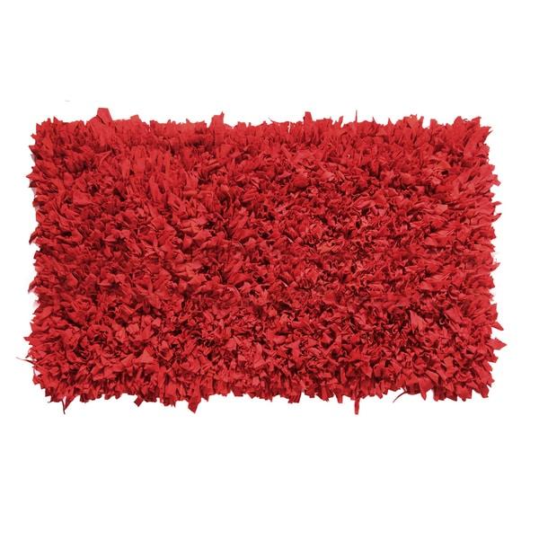 Red Cotton Jersey Shaggy Indoor Rug (2' x 3') 26275533