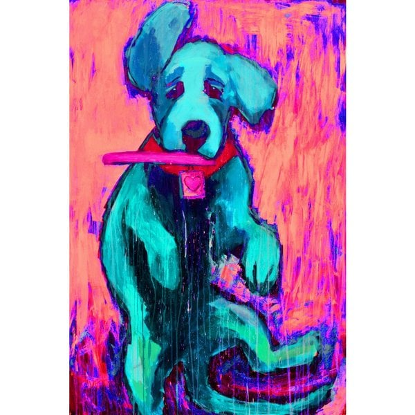 Pink Funky Pup' Painting Print on Wrapped Canvas 26275906