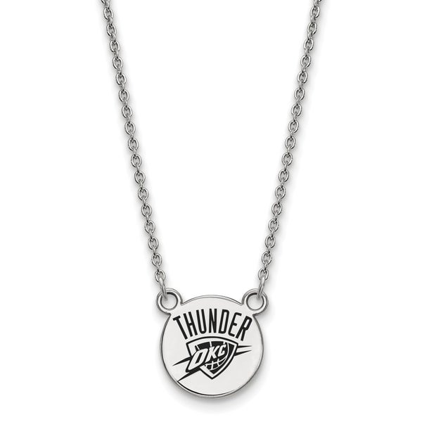 "Sterling Silver Oklahoma City Thunder Small Enamel Disc w/18"" Chain 26297323"