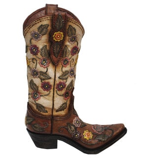 HiEnd Accents Flower Cowboy Boot Vase