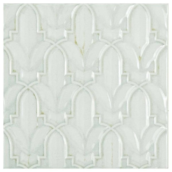 SomerTile 5.875x5.875-inch Pais Lis Decor Blanco Ceramic Wall Tile (44 tiles/11.46 sqft.) 26304497