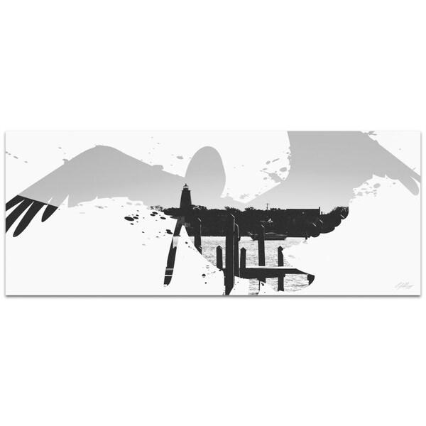 Adam Schwoeppe 'Pelican Seascape Gray' 48in x 19in Animal Silhouette on White Metal 26306971