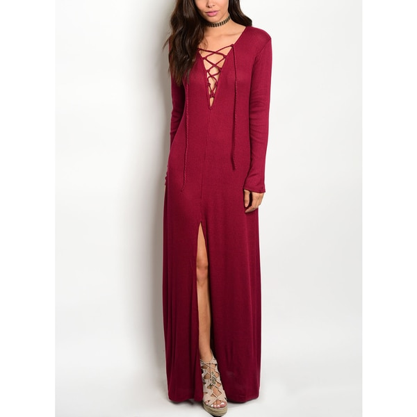 JED Women's Thigh High Slit Stretchy Long Sleeve Lace Up Wine Maxi Dress 26340153
