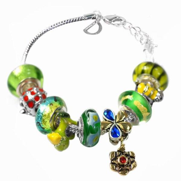 """De Buman Multi-color Glass & Enamel Beads Charm Bracelet, 6.7""""+1.18""""extender 26351444"""