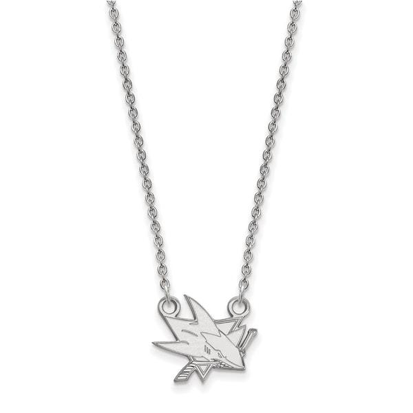 10 Karat White gold NHL LogoArt San Jose Sharks Small Pendant with Necklace 26361773