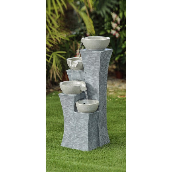 Jeco Multicolor Polyresin Modern Style Four-tiered Water Fountain 26376945