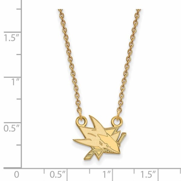 14 Karat Yellow gold NHL LogoArt San Jose Sharks Small Pendant with Necklace 26383653