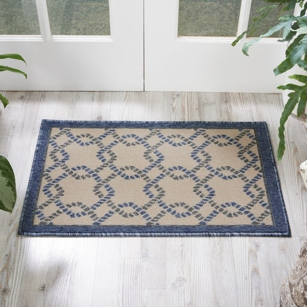 Nourison Caribbean Ivory Blue Indoor/Outdoor Area Rug (1'9 x 2'9) - 1'9 x 2'9 26407498