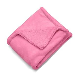 Pink Royal Plush Toddler Throw Reverse to Sherpa