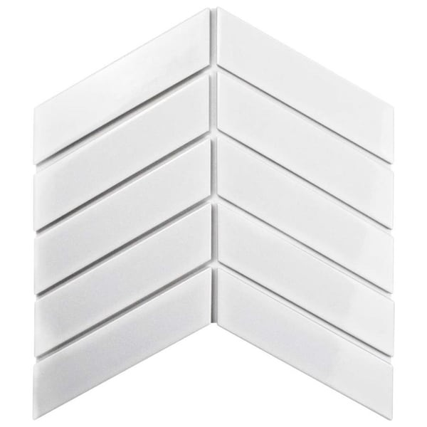 SomerTile 1.75x7-inch Victorian Soho Chevron Glossy White Porcelain Floor and Wall Tile (10/Pack, 1 sqft.) 26408695