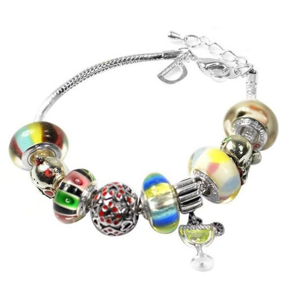 """De Buman Multi-color Glass & Enamel Beads Charm Bracelet, 6.7""""+1.18""""extender 26416819"""