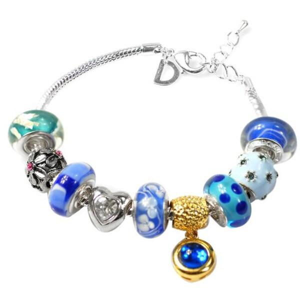 """De Buman Multi-color Glass & Enamel Beads Charm Bracelet, 6.7""""+1.18""""extender 26416865"""