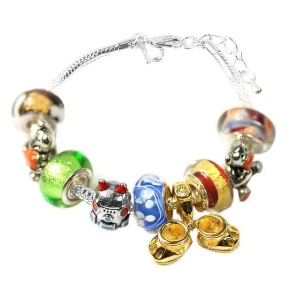 """De Buman Multi-color Glass & Enamel Beads Charm Bracelet, 6.7""""+1.18""""extender 26416867"""