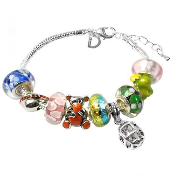 """De Buman Multi-color Glass & Enamel Beads Charm Bracelet, 6.7""""+1.18""""extender 26416870"""