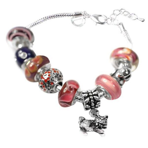 """De Buman Multi-color Glass & Enamel Beads Charm Bracelet, 6.7""""+1.18""""extender 26416871"""