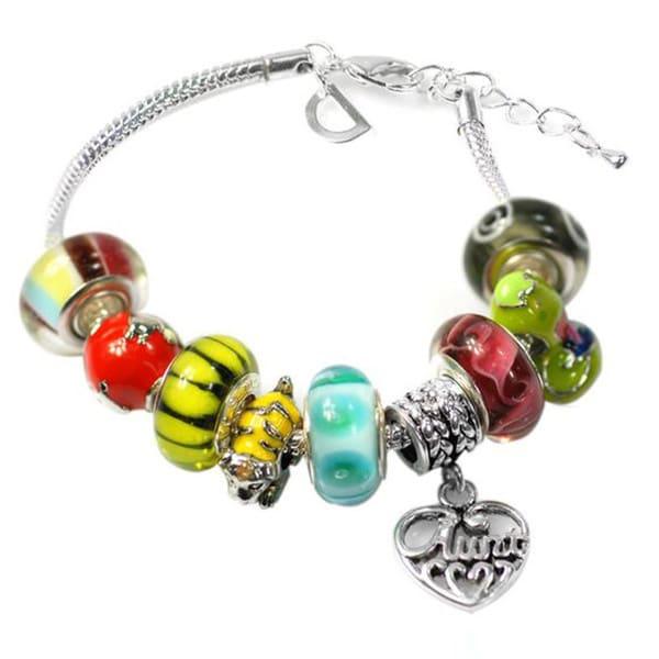 """De Buman Multi-color Glass & Enamel Beads Charm Bracelet, 6.7""""+1.18""""extender 26416872"""