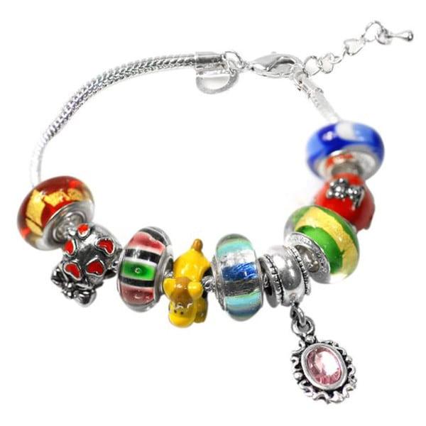 """De Buman Multi-color Glass & Enamel Beads Charm Bracelet, 6.7""""+1.18""""extender 26416894"""
