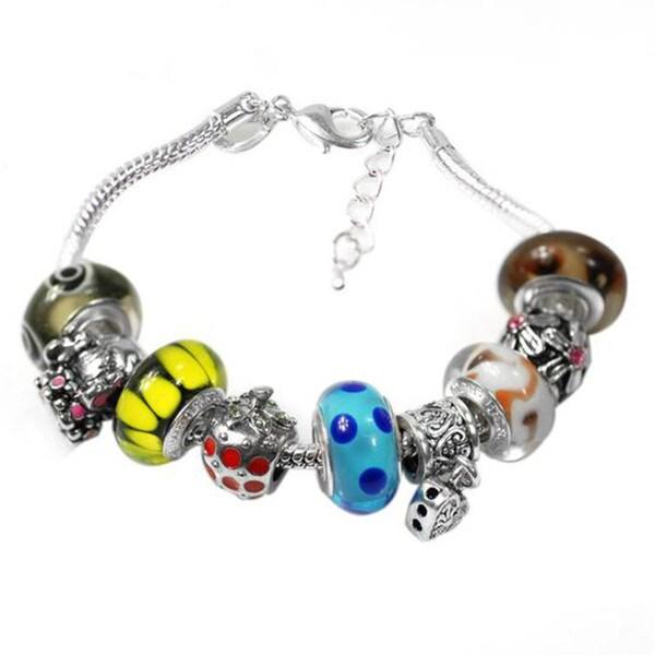 """De Buman Multi-color Glass & Enamel Beads Charm Bracelet, 6.7""""+1.18""""extender 26416896"""
