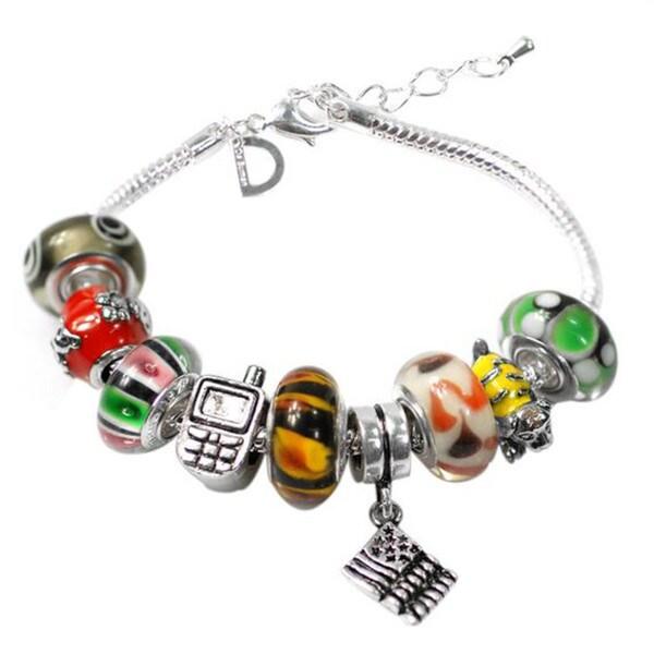"""De Buman Multi-color Glass & Enamel Beads Charm Bracelet, 6.7""""+1.18""""extender 26416900"""