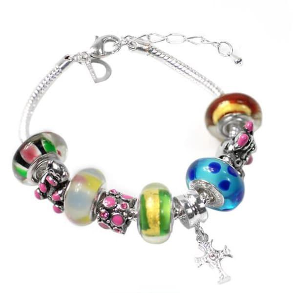 """De Buman Multi-color Glass & Enamel Beads Charm Bracelet, 6.7""""+1.18""""extender 26416903"""