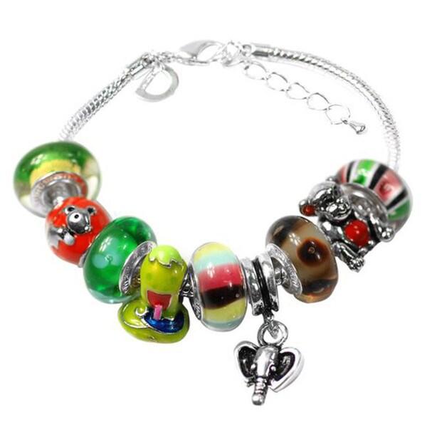 """De Buman Multi-color Glass & Enamel Beads Charm Bracelet, 6.7""""+1.18""""extender 26416905"""