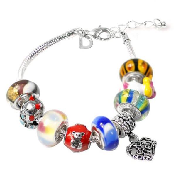 """De Buman Multi-color Glass & Enamel Beads Charm Bracelet, 6.7""""+1.18""""extender 26416906"""
