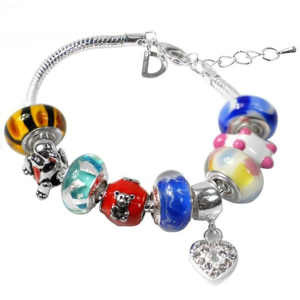 """De Buman Multi-color Glass & Enamel Beads Charm Bracelet, 6.7""""+1.18""""extender 26416907"""