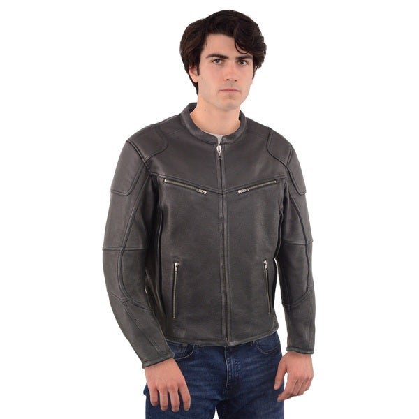 Men's Black Vented Scooter Jacket with Cool Tec Leather and Side Stretch 26423048