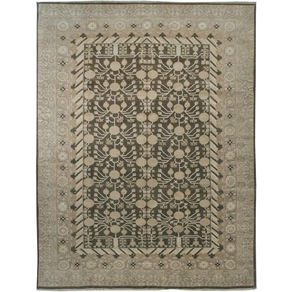 """Wool and Silk Tabriz Rug (8'9"""" x 11'5"""") - 8'9"""" x 11'5"""" 26468501"""