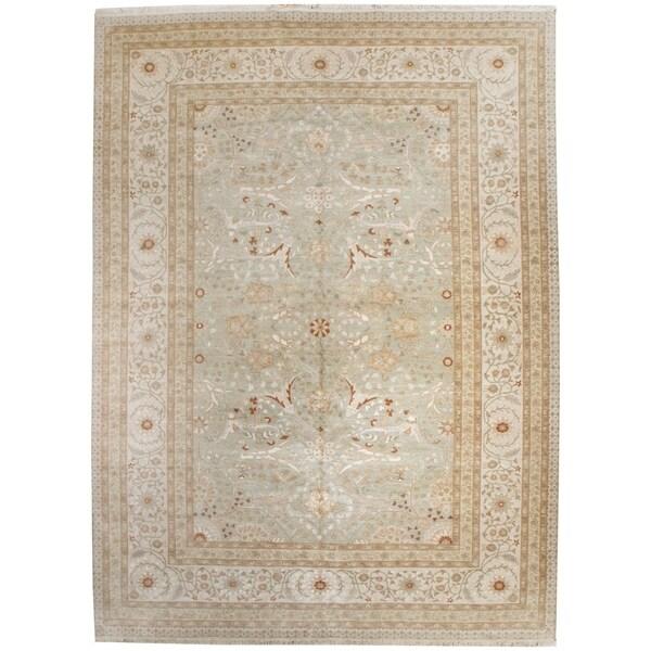 """Wool and Silk Tabriz Rug (8'9"""" x 12'5"""") - 8'9"""" x 12'5"""" 26468513"""