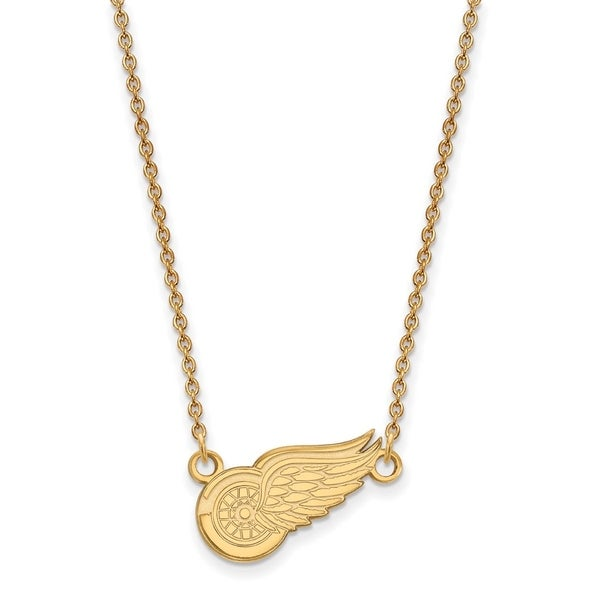 14 Karat Yellow gold NHL LogoArt Detroit Red Wings Small Pendant with Necklace 26499300