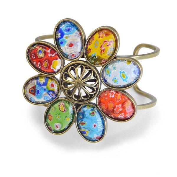 Sweet Romance Millefiori Glass Retro Flower Cuff Bracelet 26509243