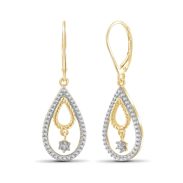 Jewelonfire Genuine Accent White Diamond Pear Shape Earring In Brass 26509292